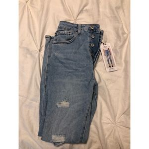 mom high waisted stretch ripped skinny jeans